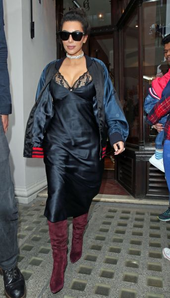 Kim Kardashian out and about in what looks like a cheap slip